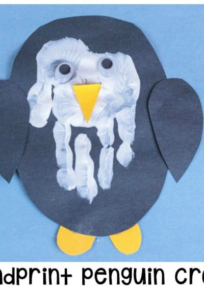 "Kids will say ""AWW"" when they see this adorable hand print penguin craft! Transform a hand print into an adorable penguin for a fun winter craft."