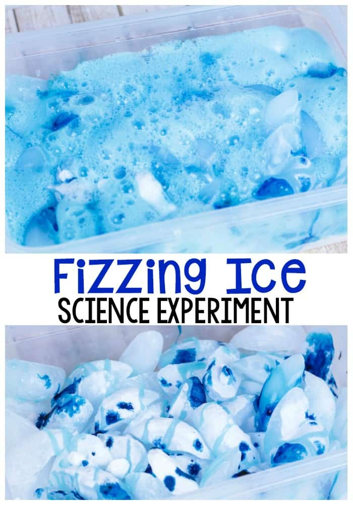 Fizzing ice science experiment for preschoolers in a sensory bin