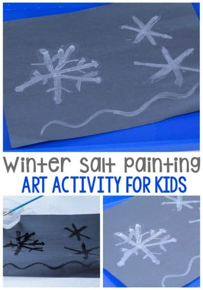This winter, try this fun salt painting activity that looks just like sparkling snowflakes! It's half part art, half part science!