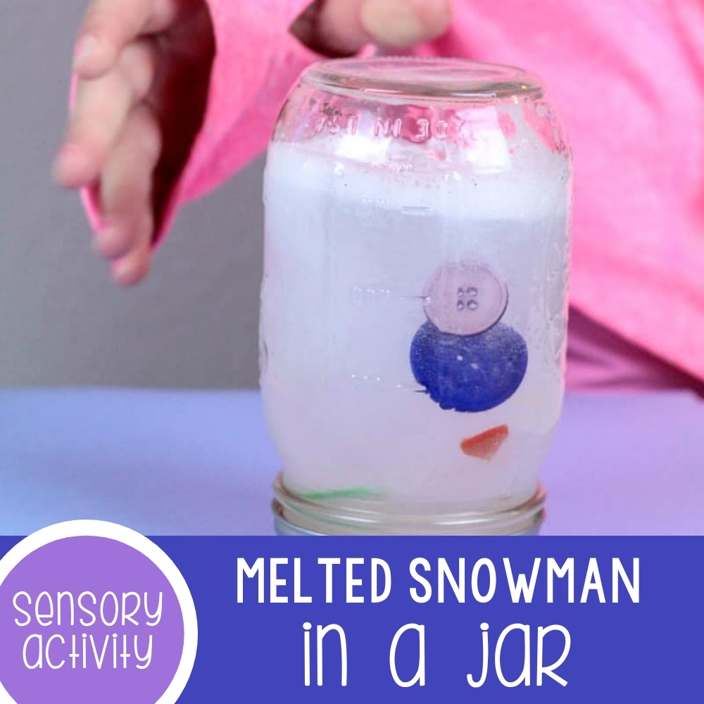 Melted Snowman in a Jar Sensory Craft for Kids
