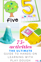 The Ultimate Guide to learning with play dough! Over 75 hands-on play dough activities for math, literacy, science, sensory and more! #playdough #mathprintables #lifeovercs