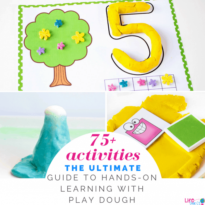 Find 75+ hands-on play dough activities for learning! Great for preschool and kindergarten! So many learning activities and play dough printables!