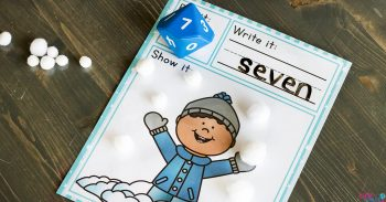 "A Snow Themed Roll and Count worksheet with the number ""7"" written on it."