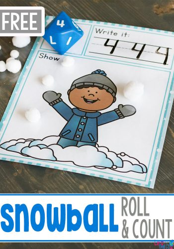 We love snow! This simple free printable snowball roll and count math game for kindergarteners is perfect for a winter theme! Kids love rolling the dice, writing the numbers and counting the snowballs or snowflakes. #kindergarten #wintertheme #math