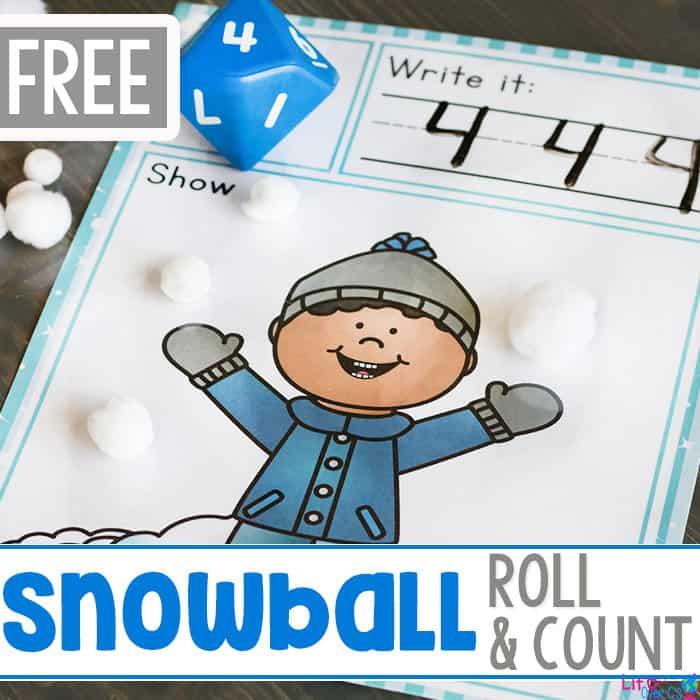 Free Printable Snowball Roll and Count Set