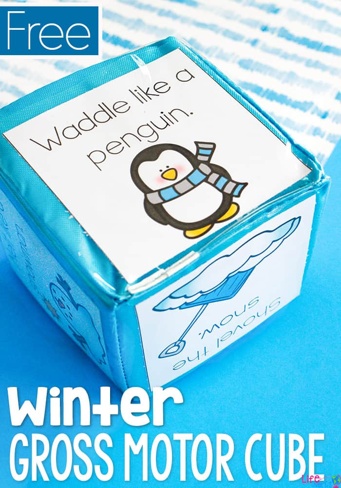 This winter themed gross motor brain break cube is sure to be a hit with the kids! A quick activity to get the kids moving during the cold winter months. #brainbreaks #wintertheme #grossmotor