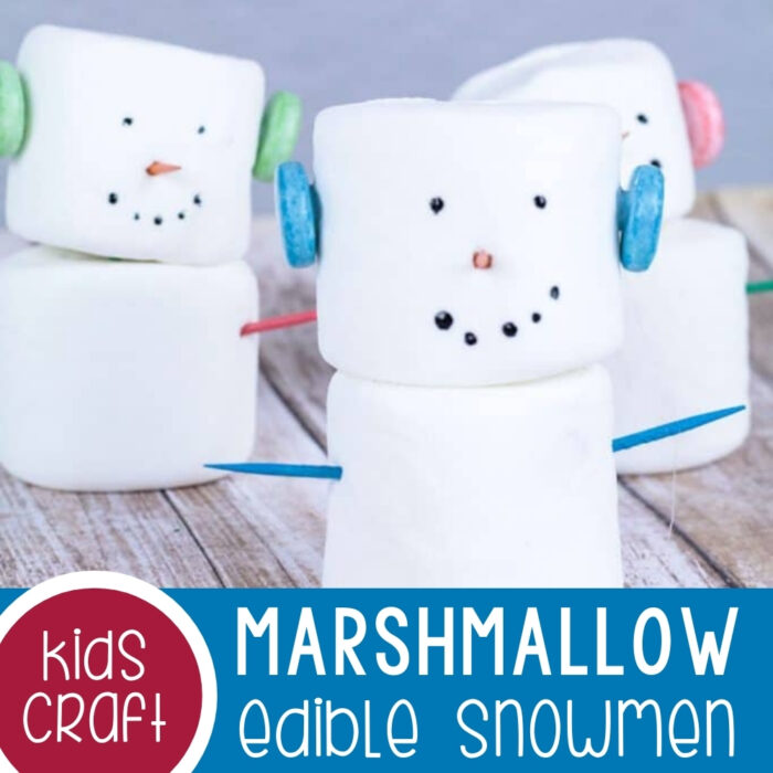 Edible Marshmallow Snowmen Featured Square Image