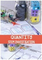 Preschool STEM Experiment and printable Comparing quantities of objects in a jar