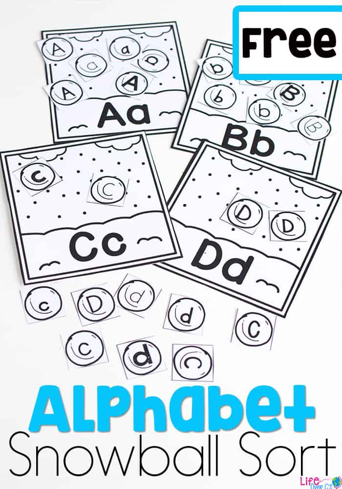 These snowball alphabet sorts are the perfect alphabet activity for your preschoolers this winter! Use this free printable at your literacy centers during your winter theme! Use the color or black & white version! #wintertheme #alphabetprintable #lifeovercs