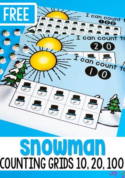 Free printable snowman counting grids for preschool. Count to 10, 20 and 100.