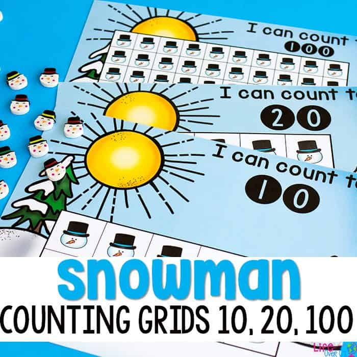 These free printable snowman counting grids for preschool and kindergarten are a great way to practice counting skills with your students during your winter theme! The kids will love the fun snowmen math counters while working on one-to-one correspondence. Perfect for using with your snowmen mini erasers! 10, 20 and 100 grids included, along with color and black/white.