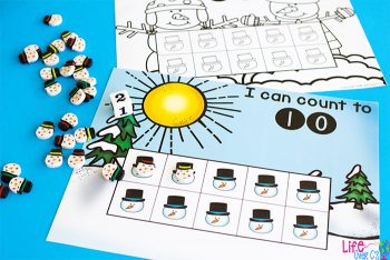 Snowman counting grids for 10 with a dice and snowman erasers.