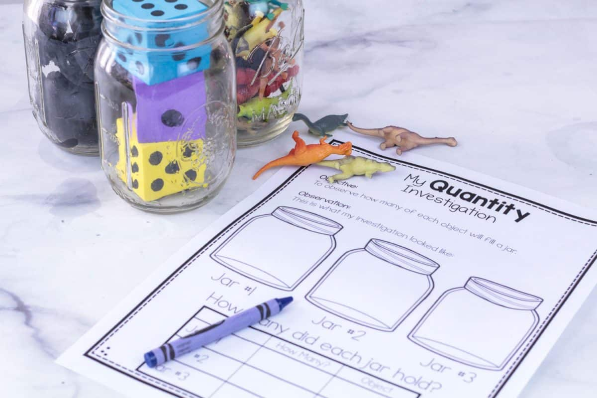 Preschool STEM Printable Comparing Quantities of objects in three jars