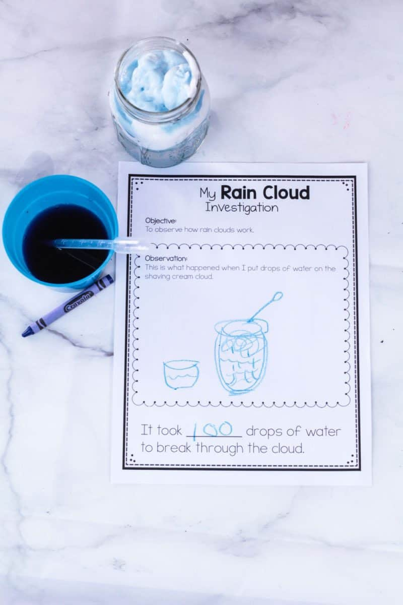 How to set up a shaving cream rain clouds STEM investigation
