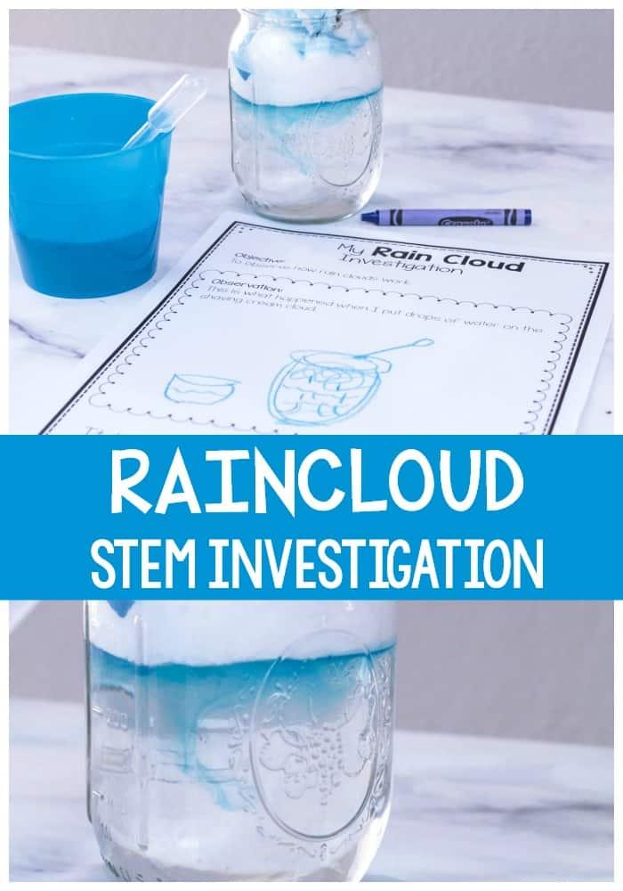 Shaving cream rain clouds preschool STEM investigation