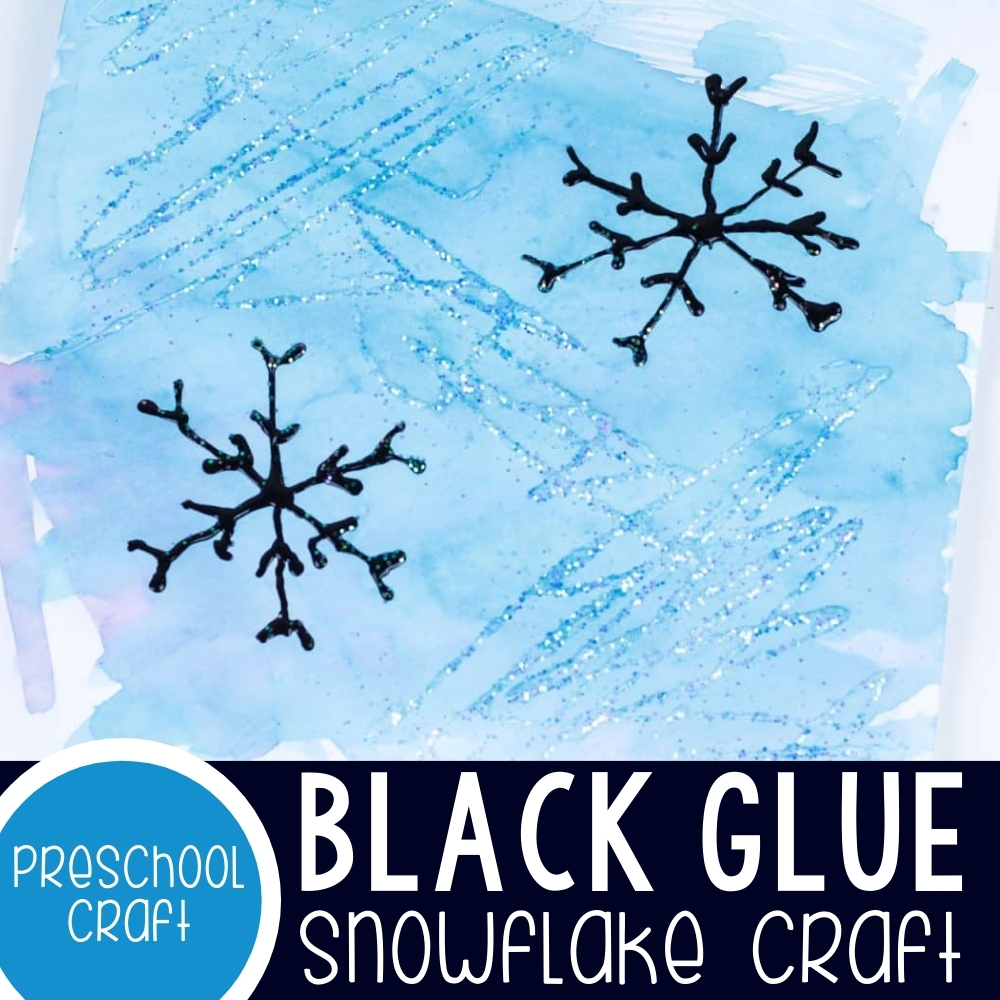 A Sparkly, Black Glue Winter Snowflake Craft For Kids