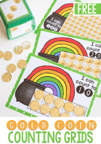 Free printable coin games for kids. St. Patrick's day counting grids for math.
