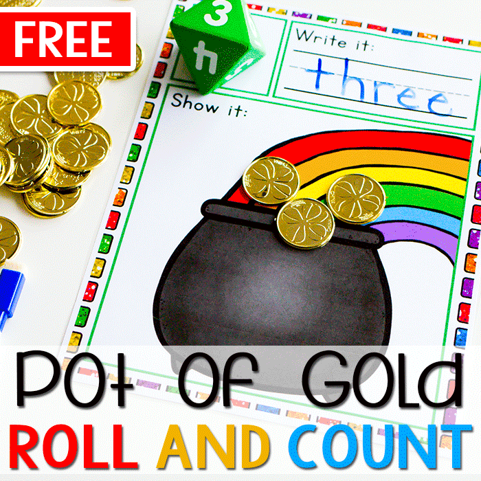 Free St. Patrick's Day Pot of Gold Printable Math Game for Counting