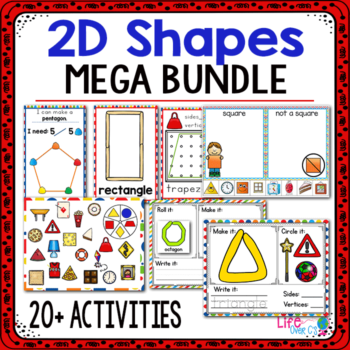 20+ hands-on 2D Shape Activities for math centers: play dough, shape building, dice games, sorting and more!