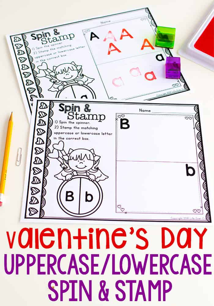Valentine's Spin and Stamp Letter Printables for Preschool. Spin uppercase and lowercase letters.