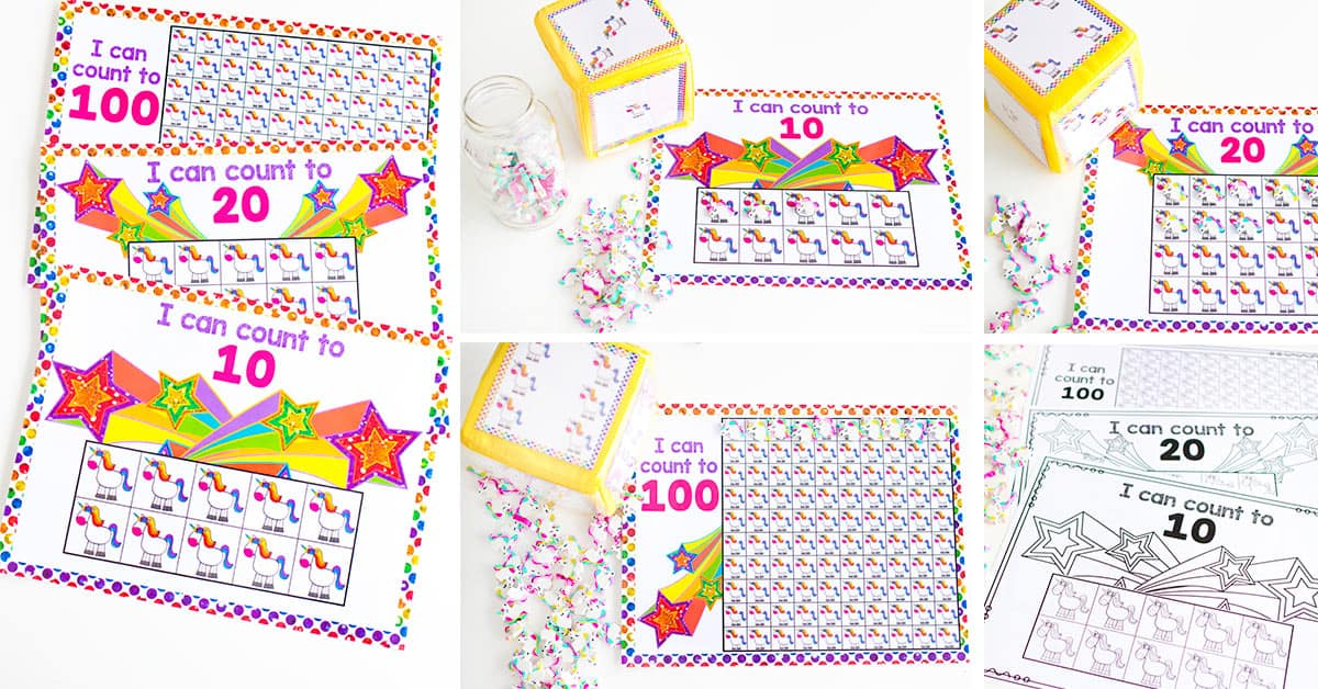 So many ways to differentiate with these unicorn counting math grids for counting to 10, 20 and 100.