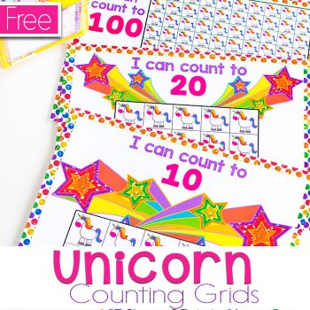 Free printable unicorn counting grids for kindergarten and preschool. Counting grids for 10, 20, and 100.