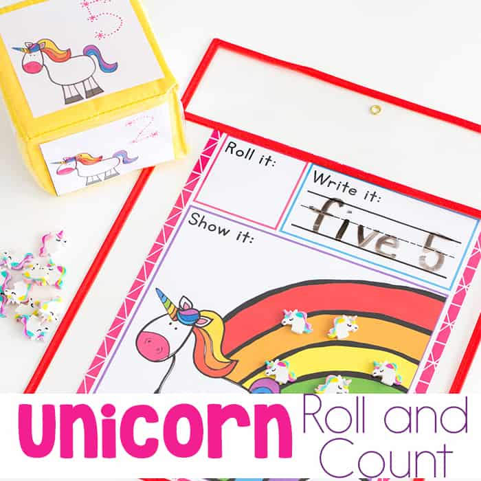 Unicorn Math Game Roll and Count Printable