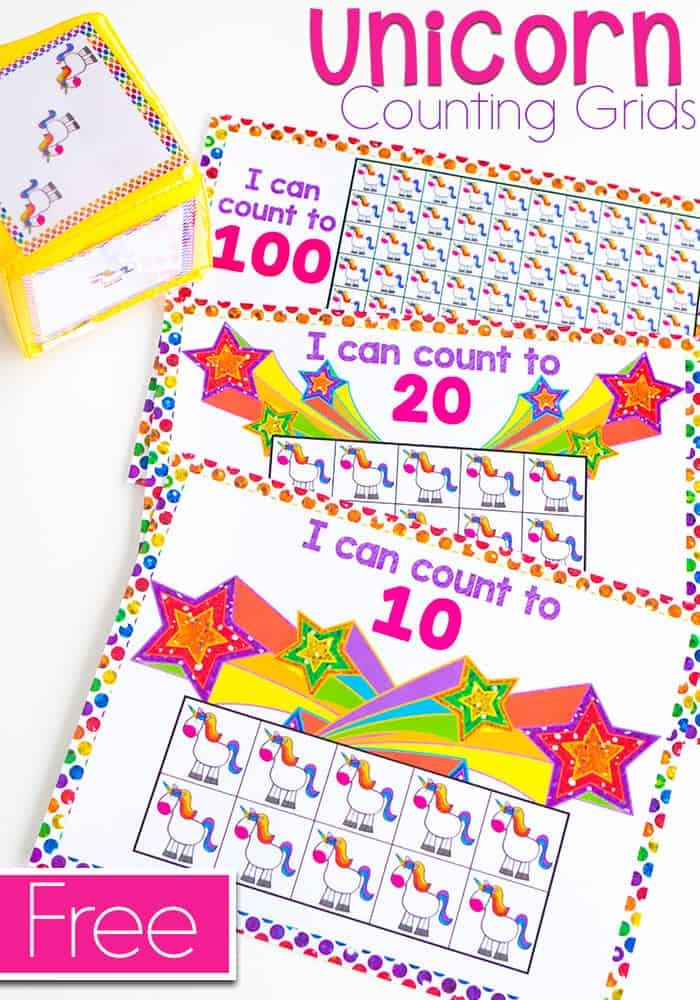 Free printable unicorn counting math grids for kindergarten and preschool. Counting grids for 10, 20, and 100.