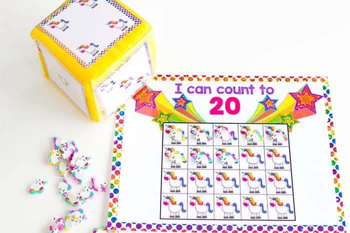 Count to 20 with this bright unicorn counting math grid game for kindergarten.