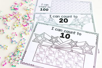 These unicorn counting grids are easy to print with a black and white printable included.