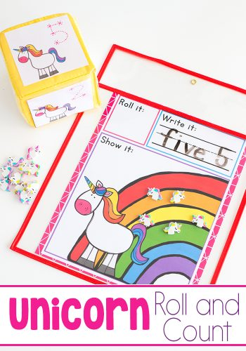 Free Unicorn Roll and Count Printable Math Game. Dice Game for Preschoolers