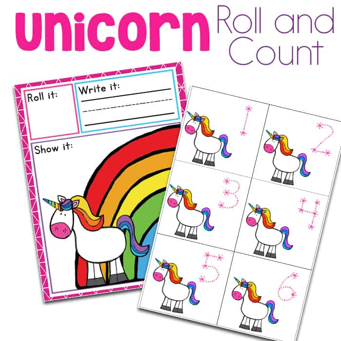 Free unicorn roll and count printable math game for preschoolers and kindergarteners