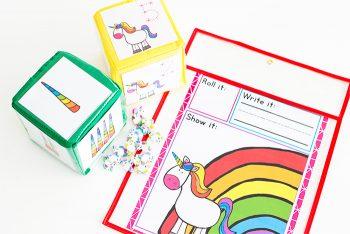 Free Printable Dice Counting Game for preschool. Unicorn printable