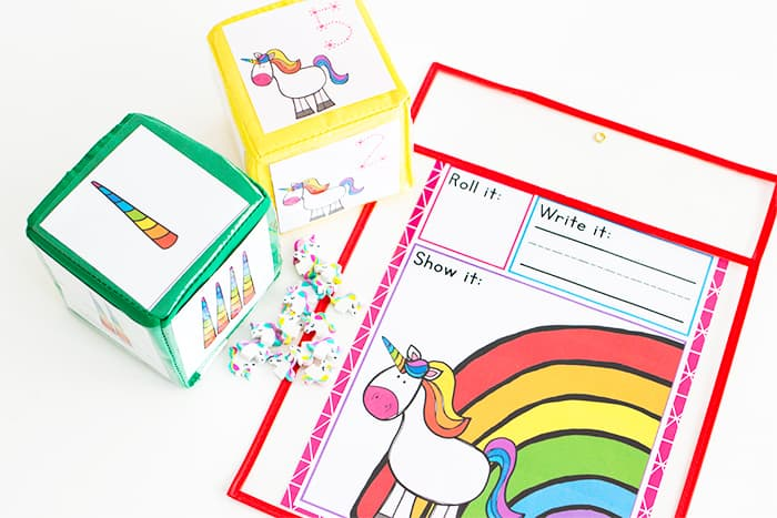 Free Printable Dice Counting Game for preschool. Unicorn printable