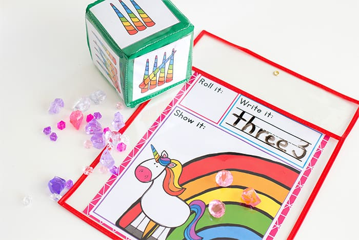 Free Printable unicorn math counting game for kindergarten