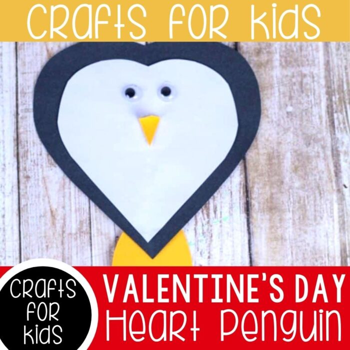 Valentines Day Heart Penguin Craft for preschoolers