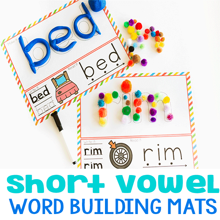 Create CVC words with play dough, markers, or buttons with these CVC word mats