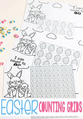 Free printable black and white Easter math games for kids. Easter counting grids for math.