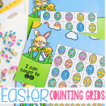 Free printable Easter math games for kids. Easter counting grids for math.