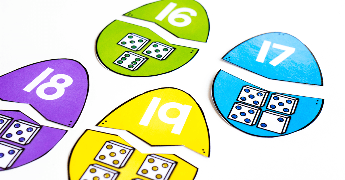 Number matching Easter egg math puzzles for 0-20. Match the pieces of the Easter Egg puzzles.