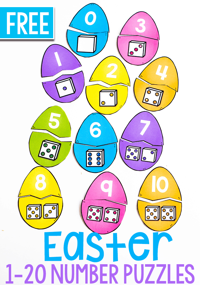 Match the Easter Egg Number puzzles to build number sense. Easter egg math with number puzzles.