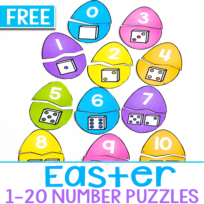 Easter Egg number matching puzzles for kindergarten math.