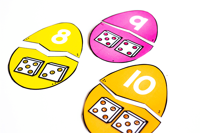 Match the Easter Egg Number Sense Puzzles for a fun spring Easter egg math activity.