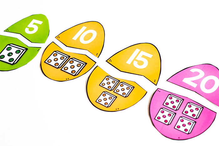 Use these Easter Egg math number recognition puzzles to count by fives.