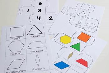 Kindergarten shape activity with pattern blocks.