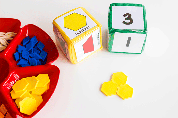 Kindergarten math activity with pattern blocks and pattern block printables. Great for learning about shapes!
