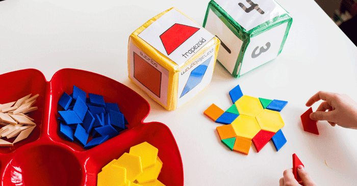 Pattern block STEM building challenge for kindergarten using pattern block printables