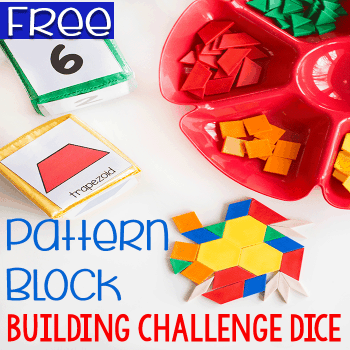 Roll these free printable dice and select the matching pattern blocks. Easy math center.