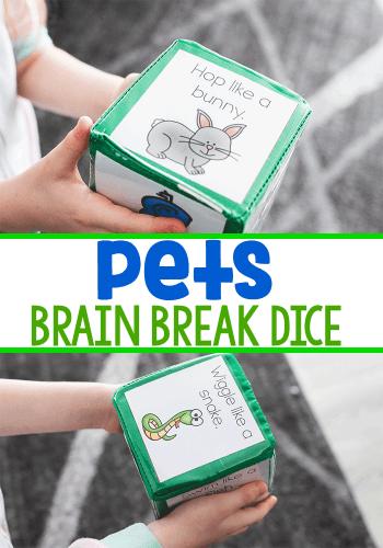 Free printable pet brain breaks for kindergarten.