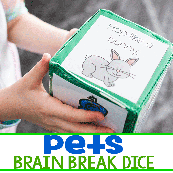 Free printable brain break activities for kids with a fun pet theme.
